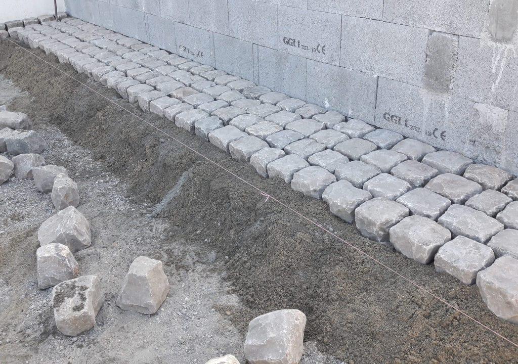 Pose pavés de Fontainebleau sur mortier